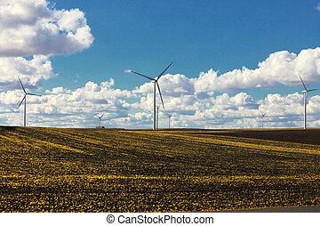 areje turbina, -, energia, renovável