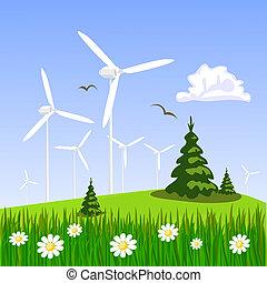 areje turbina, fundo, paisagem
