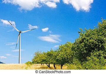 areje turbina, ligado, a, colina