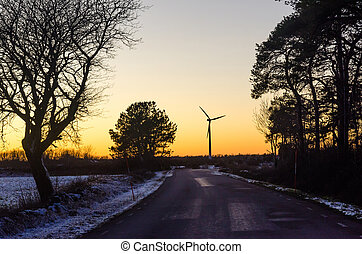 areje turbina, pôr do sol, countryroad