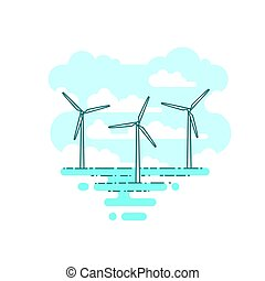 areje turbina, vetorial, mar, ilustração