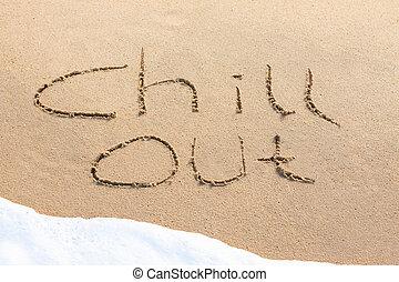 arena, afuera, -, escrito, escalofrío