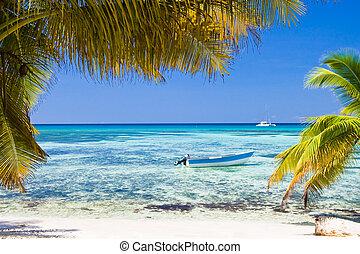 arena blanca, playa, barco, océano azul