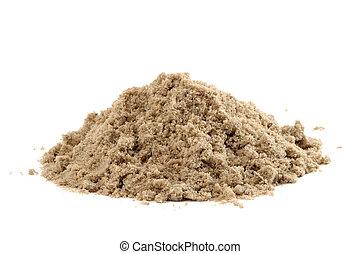 arena, blanco, pila, aislado, plano de fondo