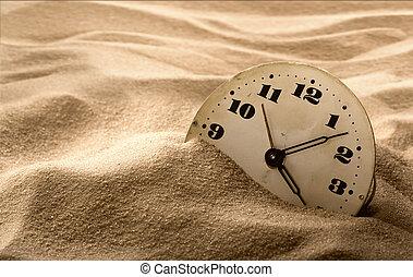 arena, cara, reloj