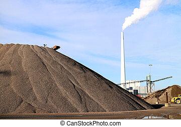 arena, carbón, y, central eléctrica