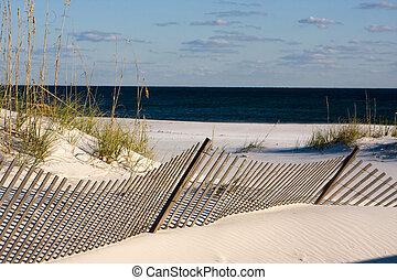 arena, cerca, por, el golfo, costa, florida