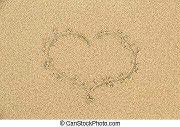 arena de la playa, corazón, señal