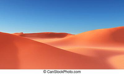 arena, desierto, con, dunas