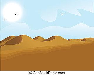 arena, desierto, vista, paisaje, dunas