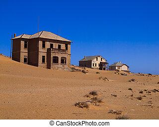 arena, en, abandonado, casa, en, kolmanskop, pueblo fantasma