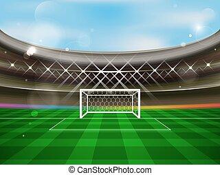 arena, fotboll mål, banner., spotlights, fotboll, grass.,...