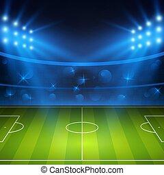 arena, futebol, lights., ilustração, campo, luminoso, vetorial, stadium., estádio, futebol