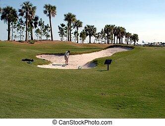 arena, golfista, trampa