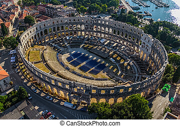 Arena in Pula - Roman time arena in Pula, detail, Croatia. ...