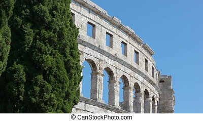 Arena in Pula - Roman time arena in Pula, detail, Croatia....