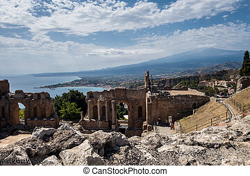 Arena in Taormina with Etna in the background