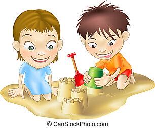 arena, juego, dos niños