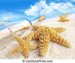 arena, mensaje, enterrado, botella