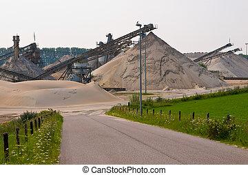 arena, minería