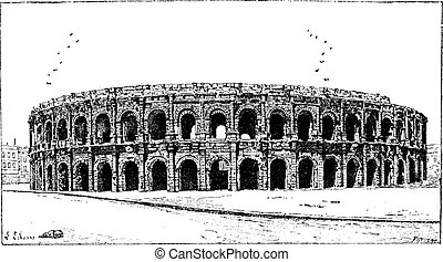Arena of Nimes, in Nimes, Languedoc-Roussillon, France, vintage engraved illustration. Dictionary of Words and Things - Larive and Fleury - 1895