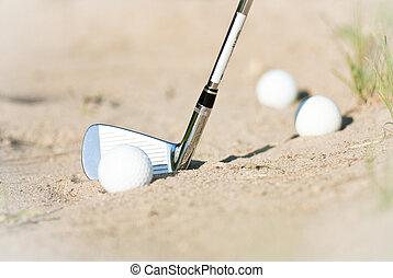 arena, pelotas, golf, trampa
