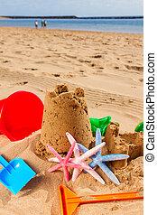 arena, playa, castillo