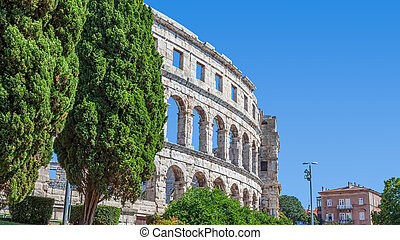 Arena Pula - Roman time arena in Pula, detail, Croatia. ...
