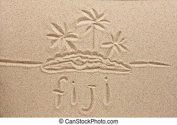 arena, símbolo, fiji, natural, manuscrito