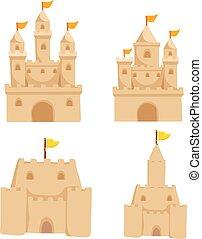 arena, vector, diseño, castillo, colección