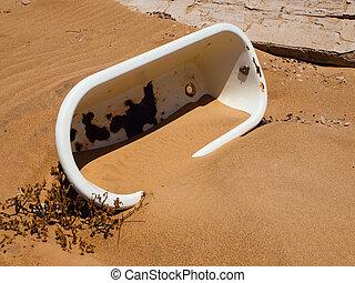 arena, viejo, baño