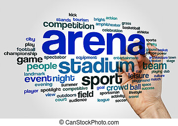 Arena word cloud concept on grey background
