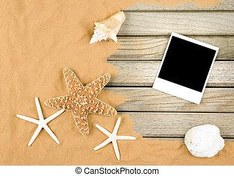 arena, y, madera, plano de fondo