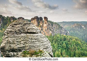 arenito, montanhas, em, saxônia