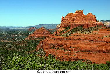 arenito, vermelho, panorâmico, paisagem natureza, eua
