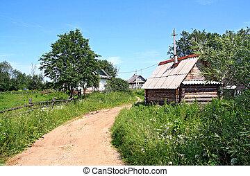 arenoso, camino, en, viejo, aldea