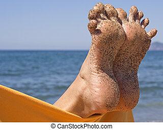 arenoso, loucos, mulher, dedos pé, praia