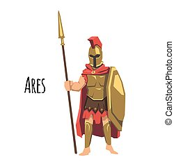 Ares, ancient Greek god od of war. Mythology. Flat vector illustration. Isolated on white background.