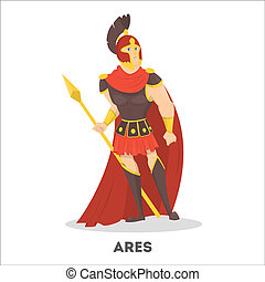 Ares ancient greek god with shield. Olympian mythical war...