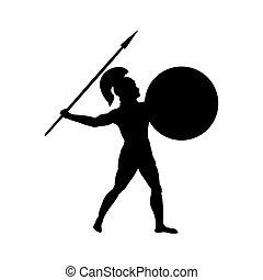 Ares god war silhouette ancient mythology fantasy