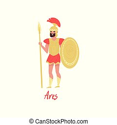 Ares Olympian Greek God, ancient Greece myths cartoon character vector Illustration on a white background
