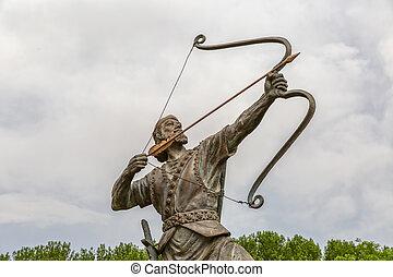 Aresh the Archer tightens arrow - Statue of Aresh Kamangir...
