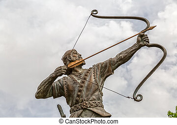 Aresh with bow and arrow - Statue of Aresh Kamangir the...