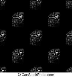 Arfican Head Sculpture Motif Print Pattern