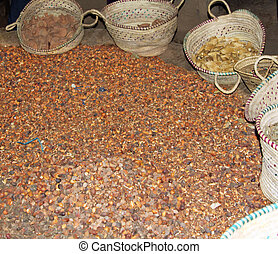 Argan fruits and shells from the manufacturing