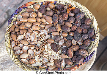 Argan nuts on a market in Morocco, Africa
