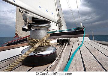 argano, con, corda, su, barca naviga