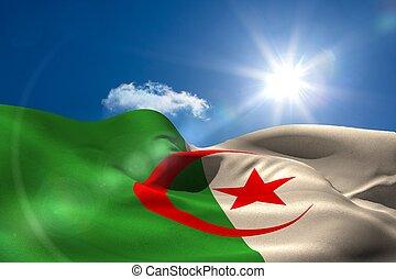 argelia, bandera nacional, debajo, soleado, cielo