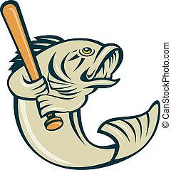 argemouth bass fish playing baseball - cartoon illustration...
