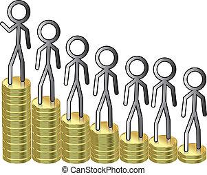 argent, échelle